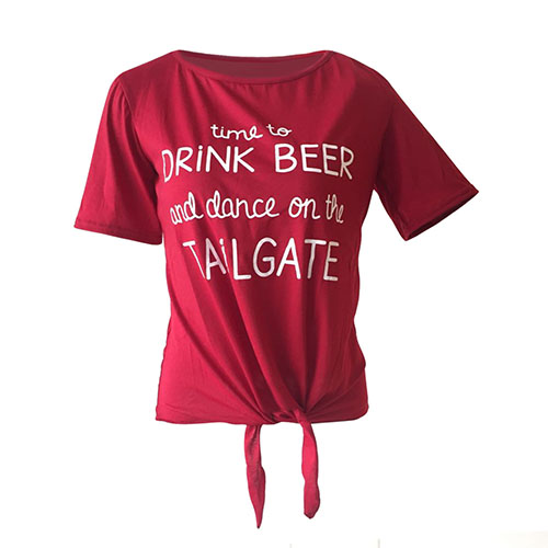 Leisure Round Neck Short Sleeves Letters Printed Wine Red Polyester T-shirt