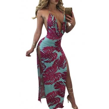Sexy V Neck Sem Mangas Backless Purple-blue Milk Fiber Sheath Ankle Length Dress