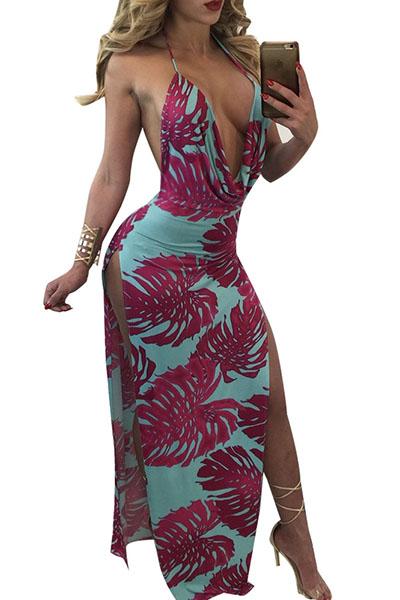 Sexy cuello en V sin mangas de color púrpura-azul leche de fibra de vaina de tobillo vestido de longitud