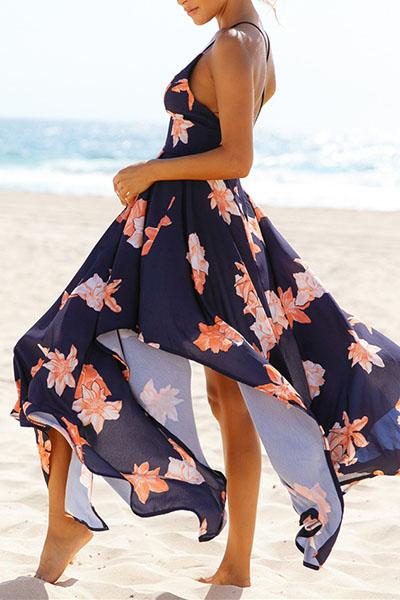 Euramerican V Neck Sleeveless Printed Asymmetrical Navy Blue Polyester Ankle Length Dress