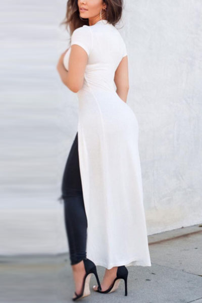 Elegante cuello redondo manga corta frente dividido blanco mezcla camiseta