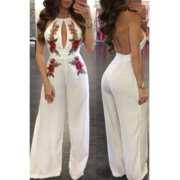 Sexy Sleeveless Backless White Twilled One-piece Jumpsuits