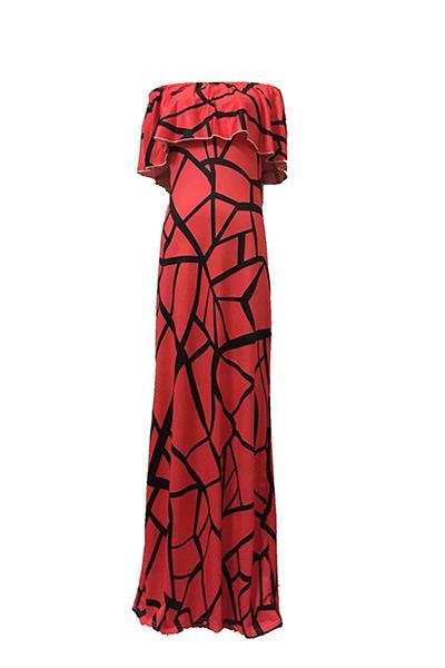 Vestido curto com mangas curtas com bastão Falbala Design Vestido com bainha de leite vermelho com bainha