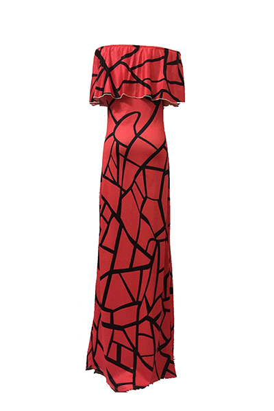 Charming Bateau Neck Short Sleeves Falbala Design Red Milk Fiber Sheath Ankle Length Dress
