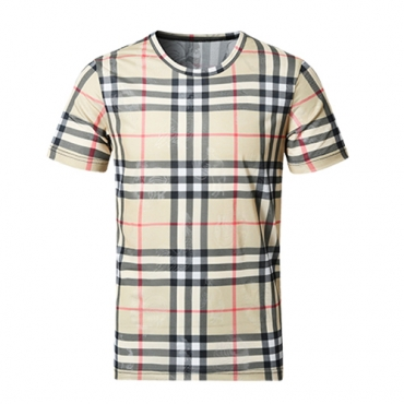 Casual Round Neck Short Sleeves Grid Cotton T-shirt