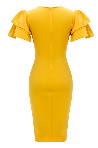 Tejido sano de moda O cuello de manga corta vaina vestidos de longitud de la rodilla