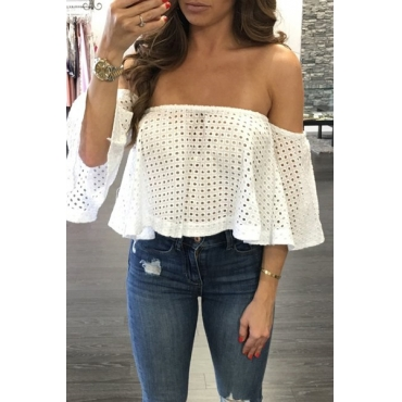 Charming Bateau Neck Half Sleeves Hollow-out White Cotton Shirts