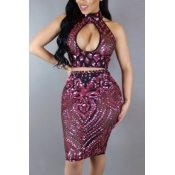 Red Sequined Skirt Solid V Neck Sleeveless Sexy Two Pieces