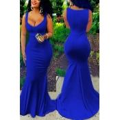 Sexy U-shaped Neck Sleeveless Blue Cotton Blend Sheath Floor Length Dress