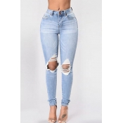 denim Solid Zipper Fly High Skinny Pants Jeans