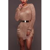 Sexy cuello redondo mangas largas hueco a cabo de oro rosa mini vestido de poliéster (sin cinturón)