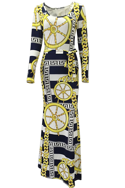 Trendy Boat Neck Long Sleeves Digital Printing Qmilch Floor length Dress