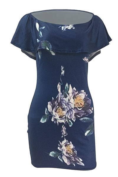 Sexy Bateau Neck mangas curtas Floral Print Blue Qmilch bainha mini vestido