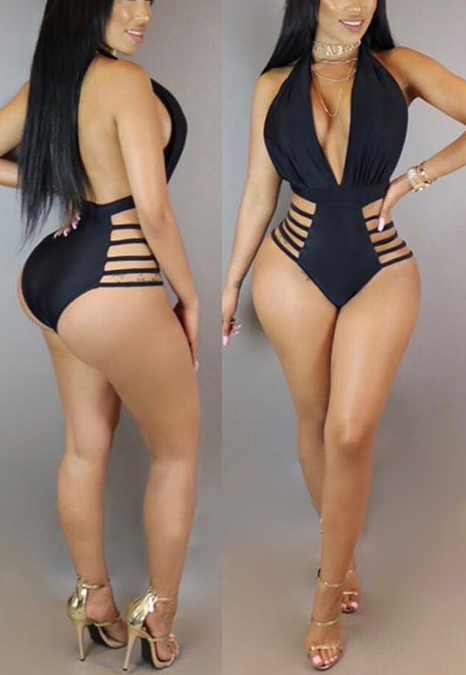 Lovely Ployester Solid One Pieces Swimwear