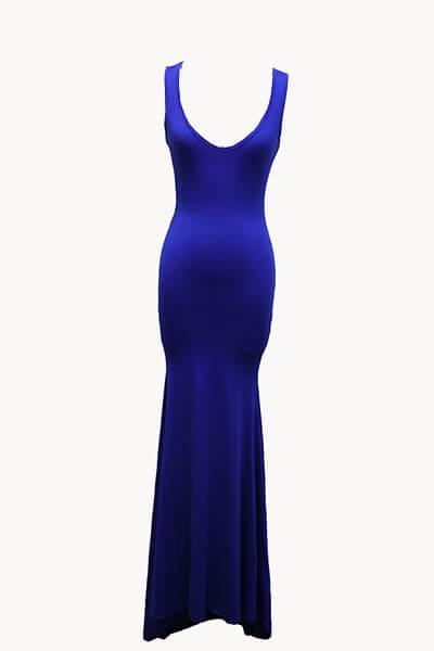 Sexy em forma de U pescoço azul mangas de algodão bainha bainha vestido de comprimento