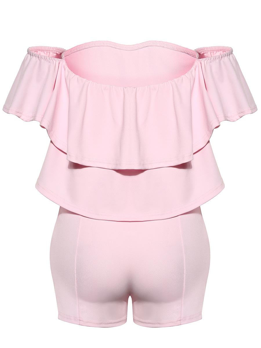 Encantador barco cuello corto mangas Falbala diseño rosa sano tejido de una sola pieza Skinny Jumpsuits