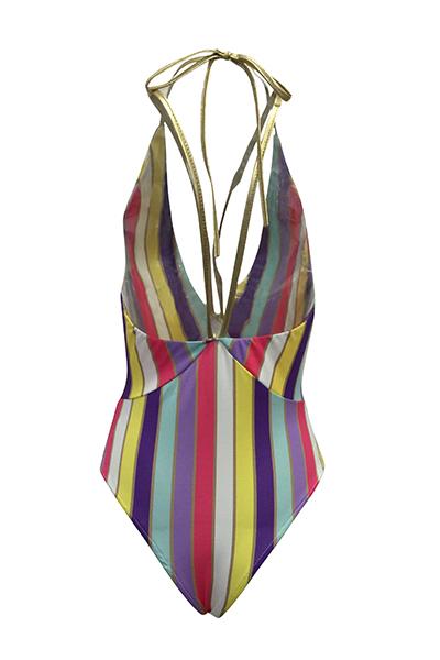 Euramerican Deep V Neck Striped Polyester One-piece Swimwear