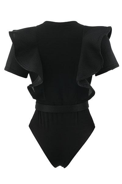 Sexy cuello redondo mangas cortas ver-A través de poliéster negro uno-piece Monos flacos