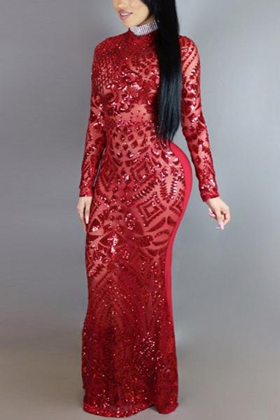 Charming Round Neck Long Sleeves Sequins Decoration Red Milk Fiber Sheath Ankle Length Dress Dresses <br><br>