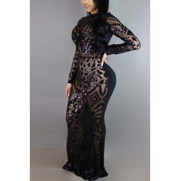 Charming Round Neck Long Sleeves Sequins Decoration Black Milk Fiber Sheath Ankle Length Dress