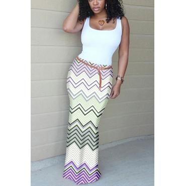 Stylish U-shaped Neck Sleeveless Wave Stripe Printed Purple Cotton Sheath Ankle Length Dress