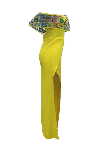 Stylish Bateau Neck Short Sleeves High Split Yellow Healthy Fabric One-piece Jumpsuits