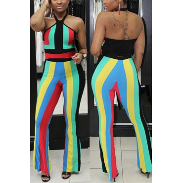 Sexy Dew Shoulder Sleeveless Striped Patchwork Green Polyester Two-piece Pants Set