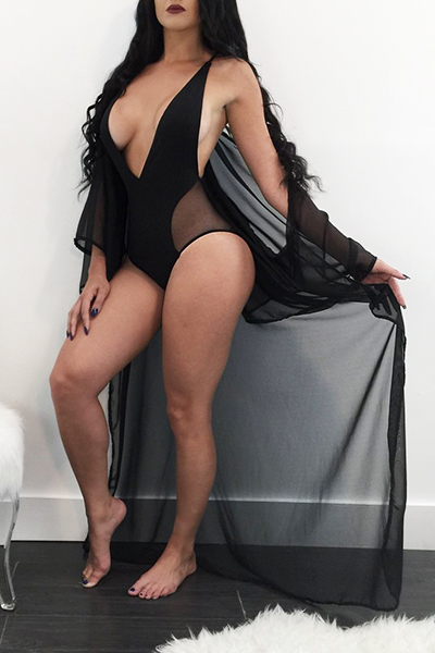 Sexy Gauze Patchwork Black One-piece Jumpsuits( With Cover-up)