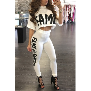 Leisure Round Neck Half Sleeves Letters Printed White Milk Silk Two-piece Pants Set