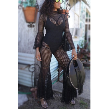 Sexy Round Neck Long Sleeves Hollow-out Black Gauze One-piece Jumpsuits(Without Lining)