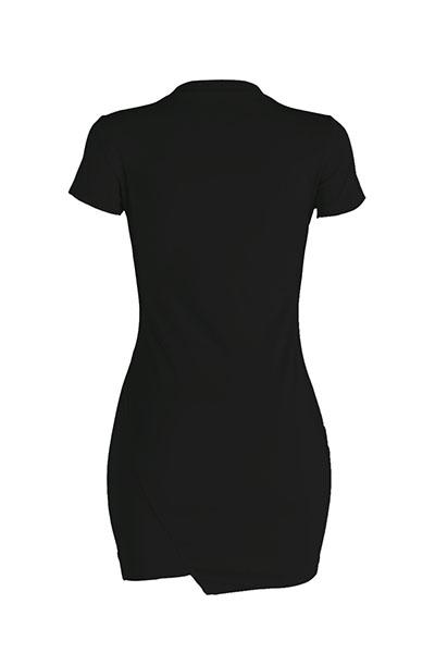 Loisirs Col Rond Manches Courtes Trous Cassés Noir Mini Robe En Polyester