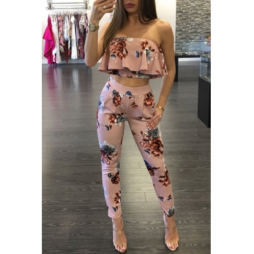 Charming Dew Shoulder Printed Falbala Design Pink Healthy Fabric Two-piece Pants Set(Non Positioning Printing)