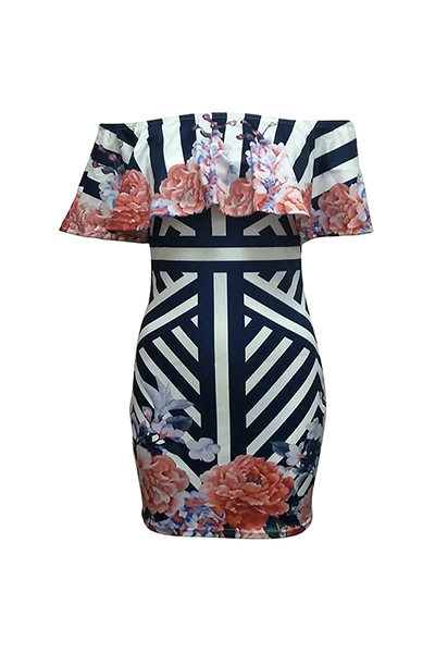 Stylish Dew Shoulder Short Sleeves Printed Milk Fiber Knee Length Dress