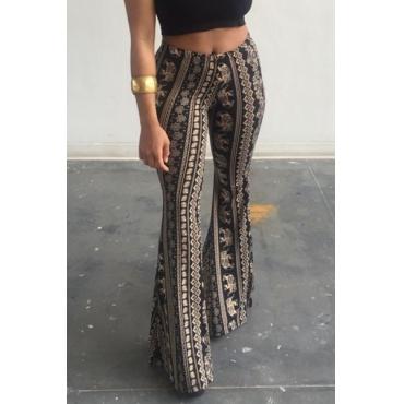 Euramerican Elastic Waist Printed Cotton Pants