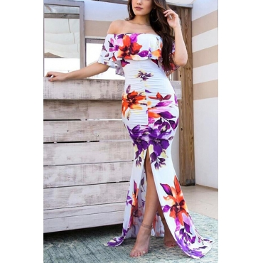 Charming Dew Shoulder Short Sleeves Printed White Milk Fiber Sheath Floor Length Dress