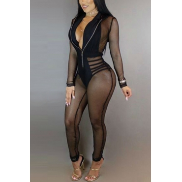 Sexy V Neck Long Sleeves See-Through Black Blending One-piece Skinny Jumpsuits