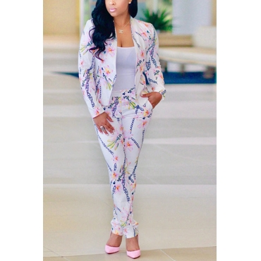 Stylish V Neck Long Sleeves Printed Pink Healthy Fabric Two-piece Pants Set