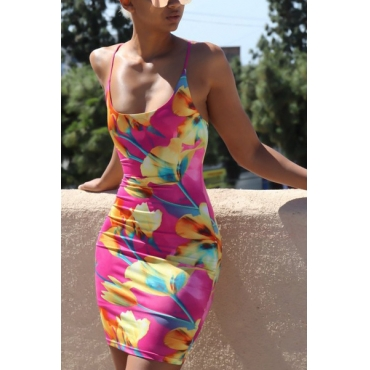 Casual U-shaped Neck Sleeveless Floral Print Blending Sheath Mini Dress