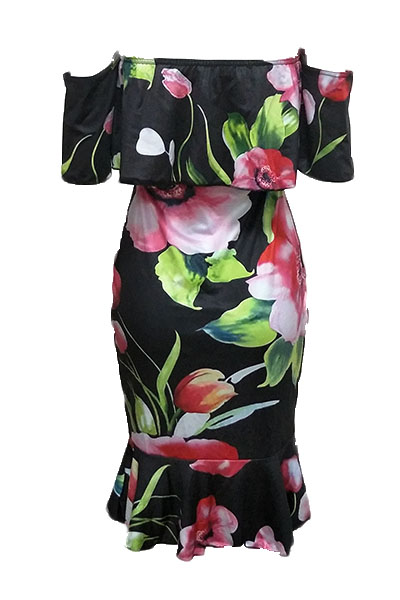 Charming Dew Schulter Blumendruck Gesundes Stoff Mantel Knielänge Kleid