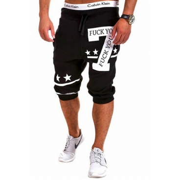 Leisure Elastic Waist Digital Printing Black Cotton Blends Shorts