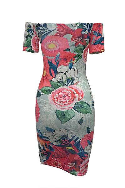 Fashio Dew Shoulder Short Sleeves White Floral Print Sheath Knee Length Dress
