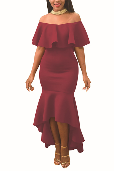 Charmante Tau Schulter Falbala Design Wein Rot Polyester Knöchel Länge Kleid