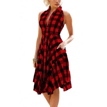 Stylish Turndown Kragen Ärmellos Plaids Red Polyester Knielänge Kleid