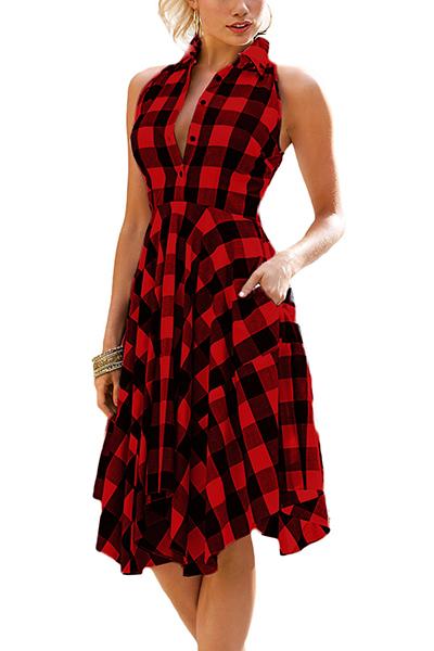 Stylish Turndown Collar mangas sem mangas vermelho vestido de poliéster comprimento do joelho