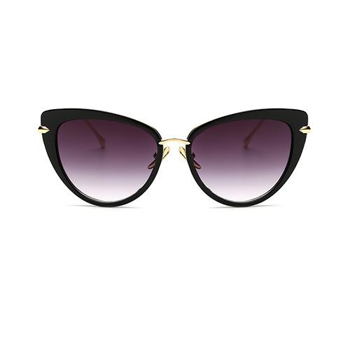 Мода кошачий глаз дизайн черные металлические солнцезащитные очки