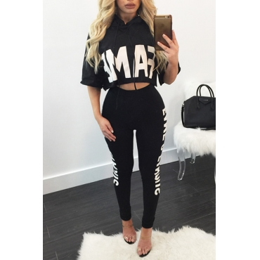 Leisure Round Neck Half Sleeves Letters Printed Black Milk Silk Two-piece Pants Set