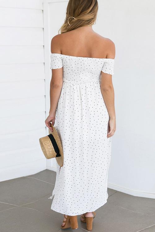 Blending Bohemian Bateau Neck Off The Shoulder Short Sleeve A Line Ankle Length Dresses