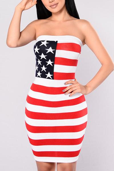 La spalla di Euramerican Dew ha stampato il vestito di lunghezza del ginocchio del guanto di fibra di latte dentellare (Independence Day)