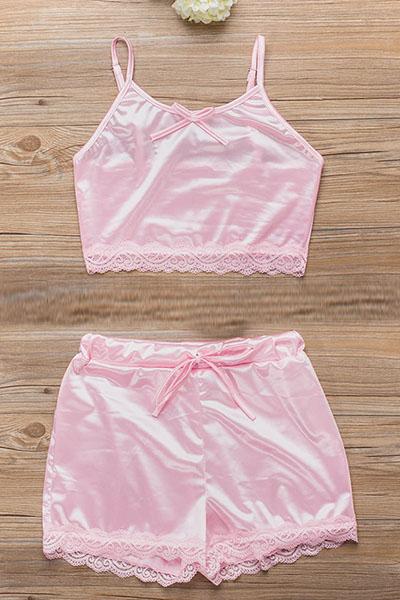 Sexy Spaghetti Strap Sleeveless Backless Pink Polyester Two-piece Shorts Set