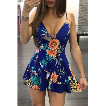 Sexy Spaghetti Straps Sleeveless Floral Print Blue Qmilch One-piece Jumpsuits